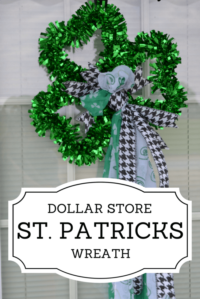Super quick and easy St Patricks Day Wreath from stuff from the Dollar Store
