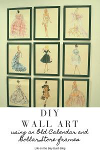 DIY Wall Art using an Old Calendar and Dollar Store frames #DIYWALLART #laundryroommakeover