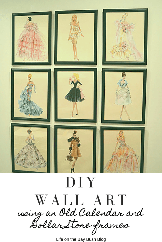 DIY Wall Art using an Old Calendar and Dollar Store frames #DIYWALLART #laundryroommakeover #barbie