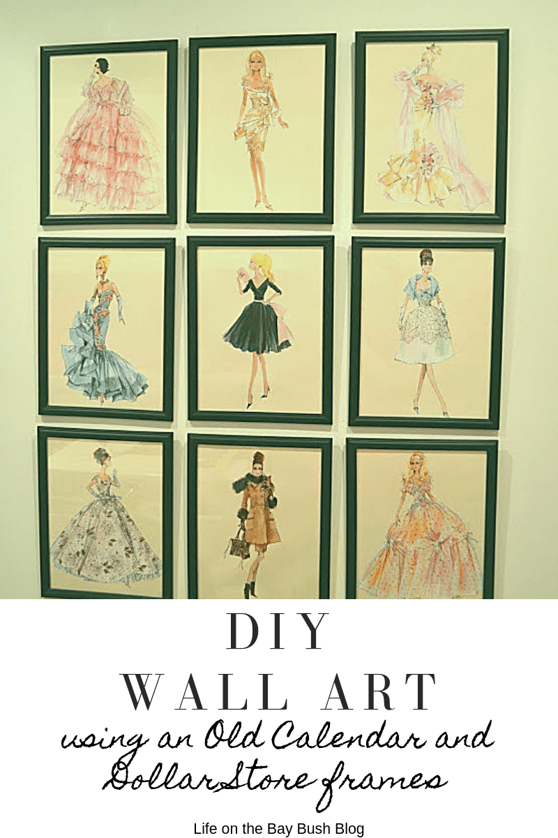 DIY Wall Art using an Old Calendar and Dollar Store frames #DIYWALLART #laundryroommakeover