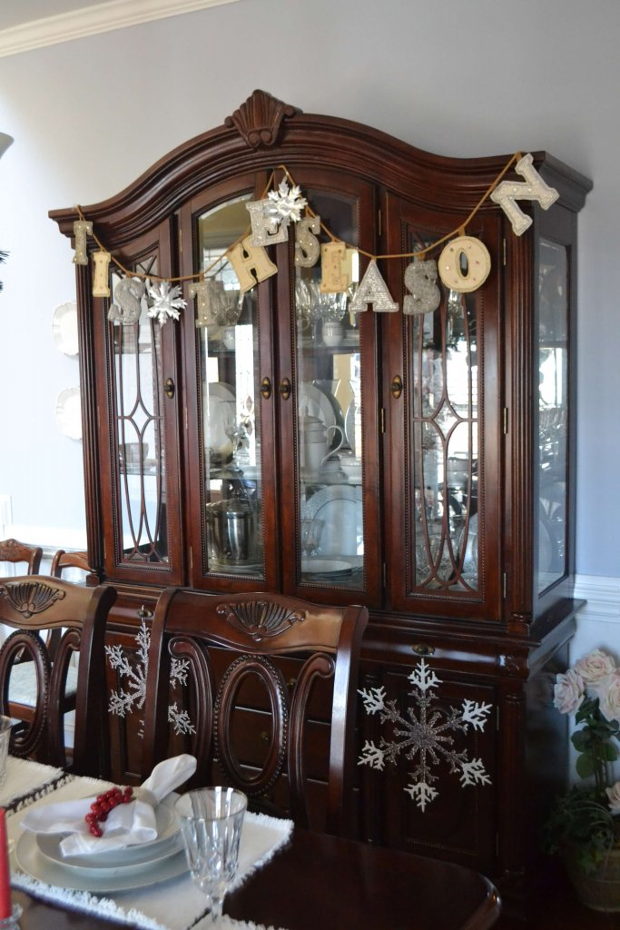 Love this bunting hung on the china cabinet in the formal dining room.