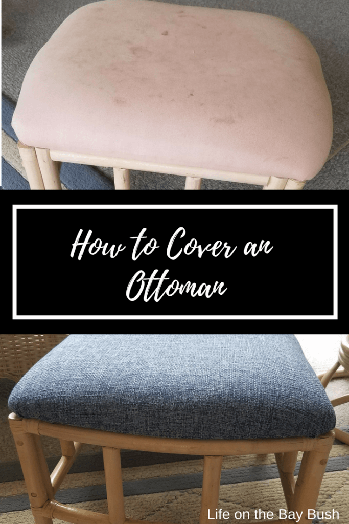 Step by step instructions on how to re-cover an ottoman or foot stool. Quick and easy project that makes a big difference!