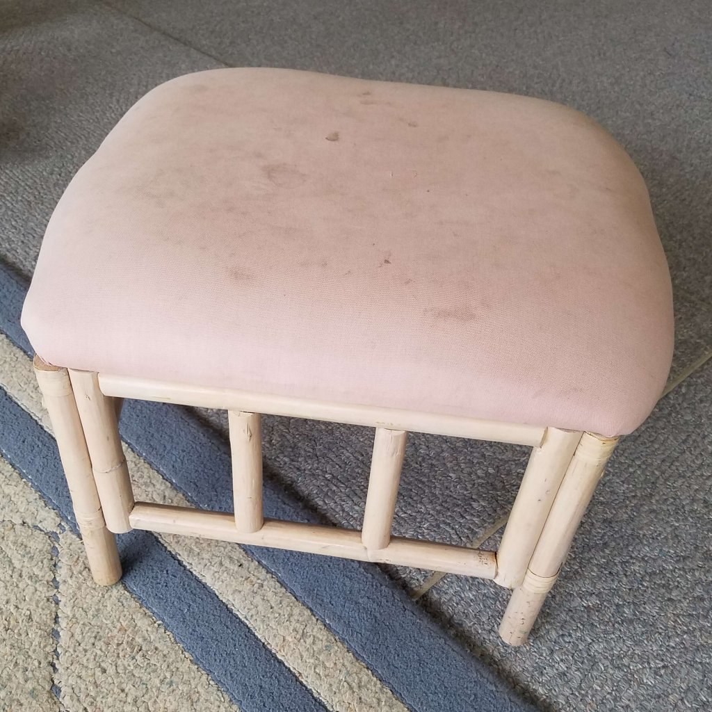 """You have to click through to see how amazing the """"after"""" picture is of this foot stool makeover!"""