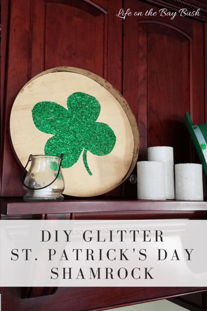 DIY Tutorial for this adorable glitter shamrock. Perfect for St Patrick's Day! And it has a surprise on the back! Life On The Bay Bush