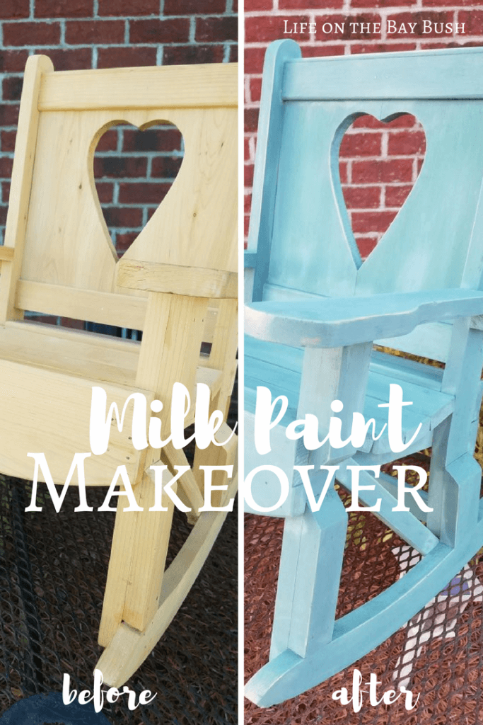 Milk paint gives this little rocking chair a beautiful distressed look. It looks so easy to do! Great DIY for beginners!
