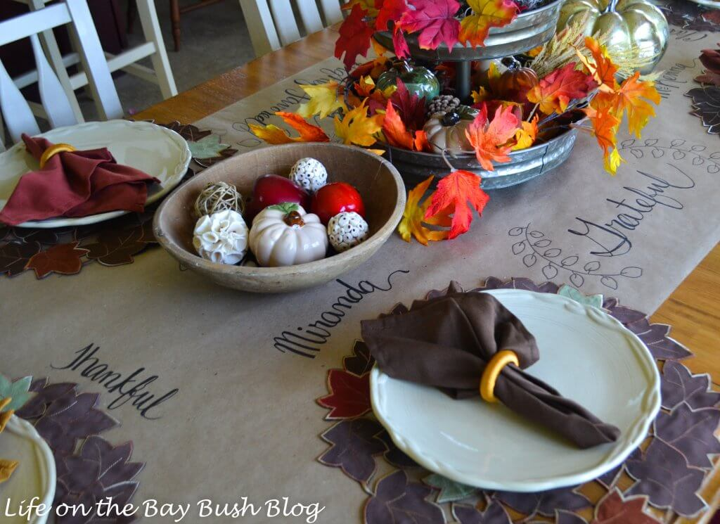 Beautiful and easy Fall Tablescape with hand-lettering and bright colors!