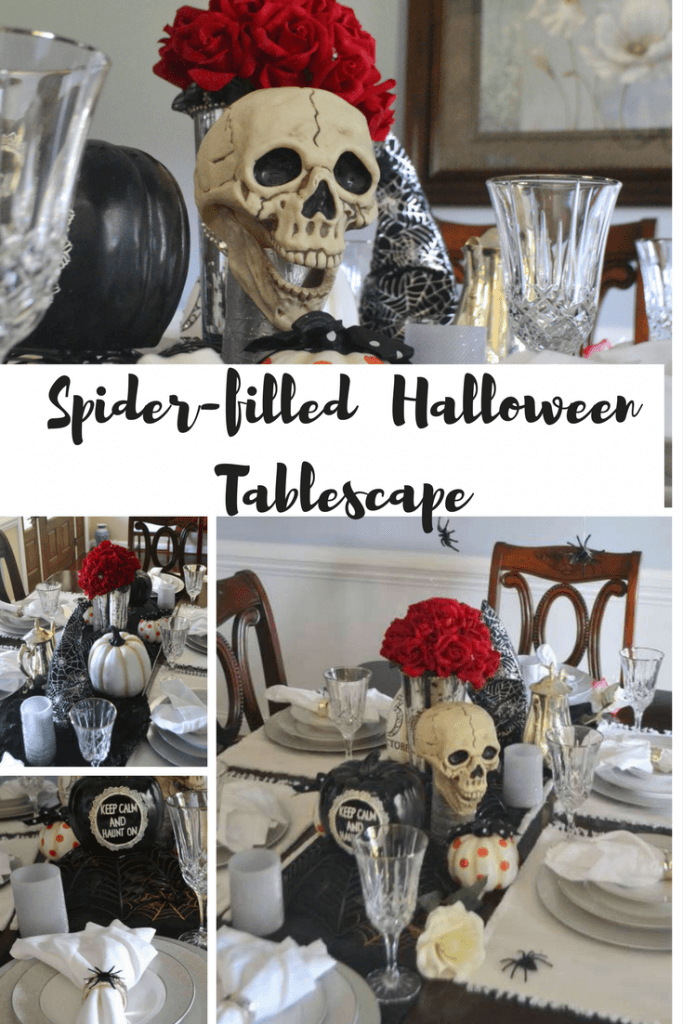 Love this spider themed Halloween Tablescape!  Fun, easy and SPOOKY!